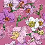 Seamless hand draw tropical flower pattern Stock Photo