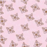 Seamless hand drawing pattern with pink pastel. Flower pattern Royalty Free Stock Images
