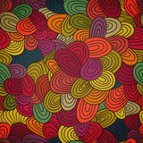 Seamless hand-drawn abstract pattern. Endless texture in warm co Royalty Free Stock Image