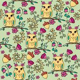 Seamless hand drawn autumn pattern with owls and flowers. Part of autumn owls set royalty free illustration