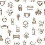 Seamless hand drawn background on baby care theme Stock Photos
