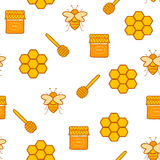 Seamless hand drawn background on beekeeping theme Stock Photography