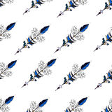 Seamless hand drawn background pattern with arrows. Vector Stock Photo