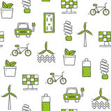 Seamless hand drawn background on renewable energy Stock Image
