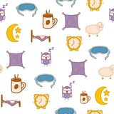 Seamless hand drawn background on sleep theme Royalty Free Stock Photo