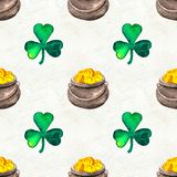 Seamless hand drawn background with St. Patrick`s Day symbols stock photography