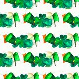 Seamless hand drawn background with St. Patrick`s Day symbols royalty free stock photo