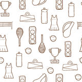 Seamless hand drawn background on tennis theme Royalty Free Stock Photography
