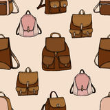 Seamless hand drawn Backpack background. Stock Image