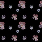 Seamless hand drawn watercolor floral pattern on black background stock illustration