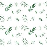 Seamless watercolor floral pattern with green leaves. Seamless hand drawn beautiful watercolor floral pattern with leaves on white background stock illustration