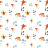 Seamless hand drawn beautiful watercolor floral pattern with orange and purple flowers stock illustration