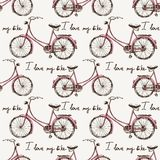 Seamless with hand drawn bicycles Royalty Free Stock Image