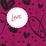 Seamless hand drawn black heart texture on pink background with. Vector seamless hand drawn black heart texture on pink background with label, textile or packing Royalty Free Stock Photos