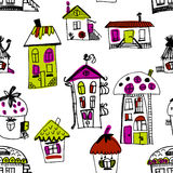 Seamless hand drawn buildings in vintage style Royalty Free Stock Photo