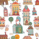 Seamless hand drawn buildings in vintage style Royalty Free Stock Images