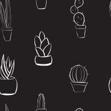 Seamless hand drawn cactus black and white background pattern. Hand drawn cactus background black and white seamless pattern Stock Photography