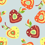 Seamless  hand drawn childish pattern, border with fruits. Cute childlike cherry with leaves, seeds, drops. Doodle, sketch, Royalty Free Stock Image