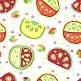 Seamless  hand drawn childish pattern, border, with fruits. Cute childlike watermelon with leaves, seeds, drops. Doodle, ske Stock Images
