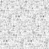 Seamless hand drawn circus animals pattern Stock Photography