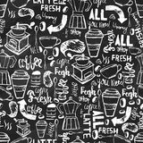 Seamless hand-drawn coffee  seamless pattern.  Coffee pattern with lettering. Vector Coffee pattern  on dark background Stock Images