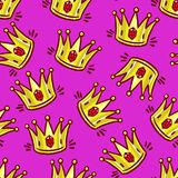 Seamless hand-drawn crowns Royalty Free Stock Image