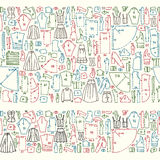 Seamless hand drawn doodle borders with clothes and sewing Royalty Free Stock Image