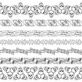 Seamless hand drawn doodle borders with skulls and guns Royalty Free Stock Photos