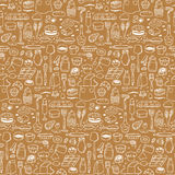 Seamless hand drawn doodle pattern with bakery elements Royalty Free Stock Photo