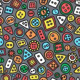 Seamless hand-drawn doodle pattern with buttons.Texture with a s Royalty Free Stock Images