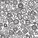 Seamless hand drawn doodle pattern with buttons. Royalty Free Stock Image