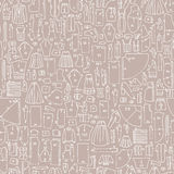 Seamless hand drawn doodle pattern with clothes and sewing patte Stock Photo