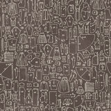 Seamless hand drawn doodle pattern with clothes and sewing patte Stock Photography