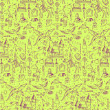Seamless hand drawn doodle pattern with fairy tale elements. Vector illustration for textile prints, web and graphic design, covers, posters Stock Photos