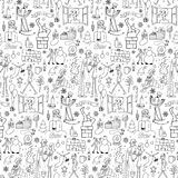 Seamless hand drawn doodle winter pattern Royalty Free Stock Image