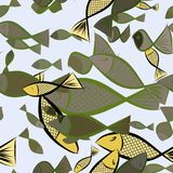 Seamless hand drawn fish illustrations background, good for graphic design, wallpapers or booklets. Cartoon style vector graphic Stock Photo