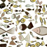 Seamless hand drawn fish illustrations background, good for graphic design, wallpapers or booklets. Cartoon style vector graphic Stock Images