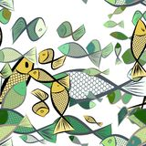 Seamless hand drawn fish illustrations background, good for graphic design, wallpapers or booklets. Cartoon style vector graphic Royalty Free Stock Photography