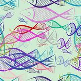 Seamless hand drawn fish illustrations background, good for graphic design, wallpapers or booklets. Cartoon style vector graphic Royalty Free Stock Images