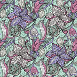 Seamless hand drawn floral pattern vector illustration