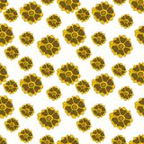Seamless hand-drawn floral pattern. Autumn flowers on a white background