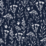 Seamless hand-drawn floral pattern with herbs Royalty Free Stock Photography