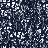 Seamless hand-drawn floral pattern with herbs Royalty Free Stock Photos