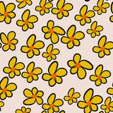 Seamless hand drawn flower illustrations background, good for graphic design, wallpapers or booklets. Line, art, digital & style. Seamless hand drawn flower Royalty Free Stock Photos