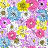 Seamless hand drawn flowers pattern Stock Photo