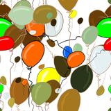 Seamless hand drawn flying balloons illustrations background, good for graphic design, wallpapers or booklets. Also for birthday party or celebrations. Cartoon Stock Photo