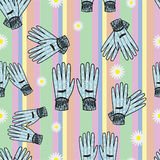 Seamless Hand-Drawn Gardening Gloves Background Stock Images