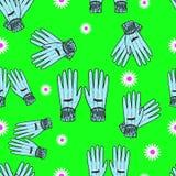 Seamless Hand-Drawn Gardening Gloves Background Stock Photo