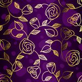 Seamless hand drawn gold filigree with roses Royalty Free Stock Images