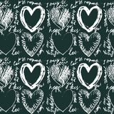 Seamless hand drawn heart pattern. This is file of EPS8 format Stock Image